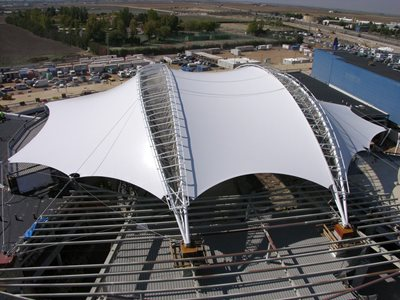 Aerial photo of tensile shade structure
