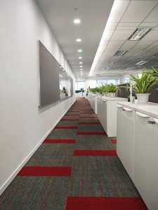 Office interior with Above Left Ebb sustainable carpet