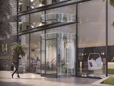 Rendered image of hotel entrance with glass revolving door system
