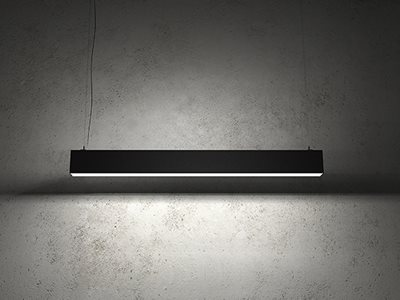 Detailed Product Shot of Black Extrusion Light