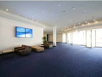 Information video wall display for corporate lobby or office reception area from JDS