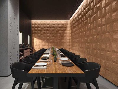 Restaurant interior with cork wall cladding