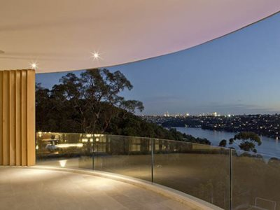 landscape view curved glass balcony residential