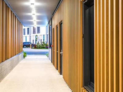 Hall interior of non-combustible timber finish aluminium panels
