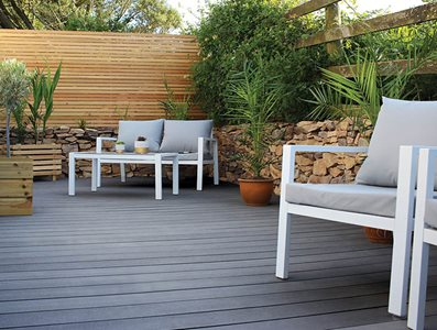 Residential decking with outdoor furniture