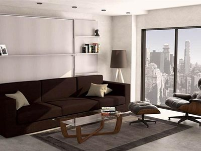 Lounge interior with ghost sofa lounge bed