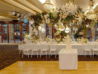 wedding event floral decoration timber dance floor