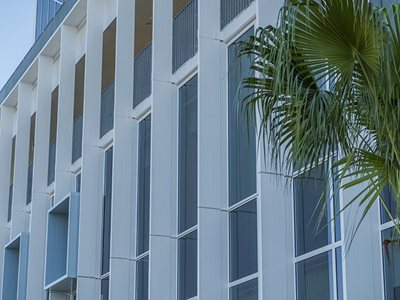 Shutterflex trinidad sunblades on bulding facade side view