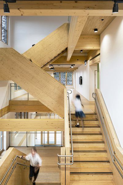 Brutalist school timber
