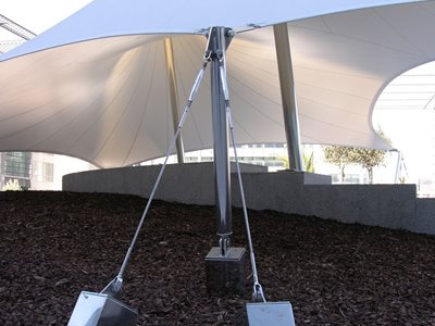 Close up of tensile suspension shade