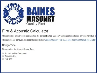 Baines Masonry walling solution acoustic calculator