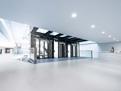 Highly durable and customisable wall and flooring products in commercial reception lobby