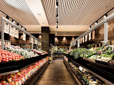 grocery market interior timber ceiling slats