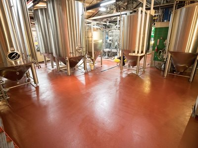 Detail of brewery with food grade flooring