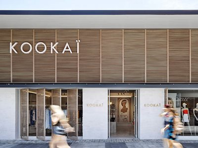 Exterior of Kookai retail store with Decowood cladding