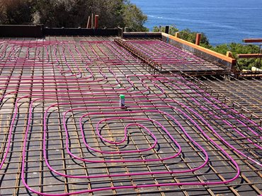 hydronic pink wire construction site floor slab