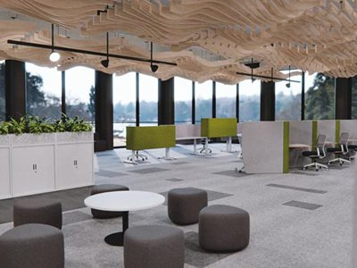 Commercial office interior with customised office pods