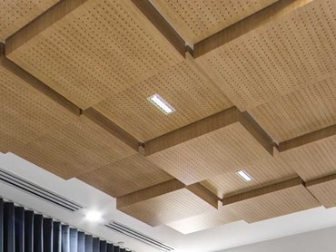 Meeting room: The ceiling tiles are finished in SUPAFINISH Tasmanian Oak laminate