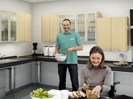 Indivo kitchen system allows height adjustability of benchtops and wall cabinets