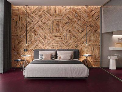 Bedroom interior with cork wall cladding