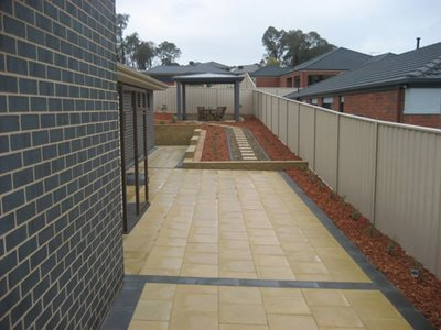 Tiled pavers down residential driveway