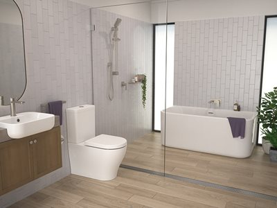 Luna Brushed Nickel Residential Bathroom Interior