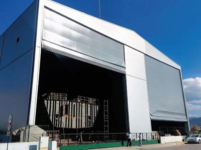 DMF Aluflex shipyard fold up door open