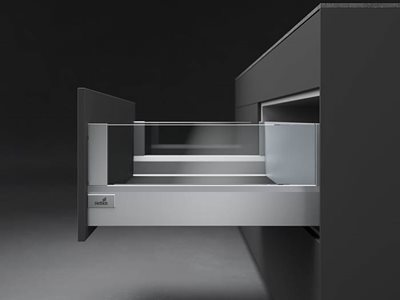 silver drawer open glass and chrome finishes