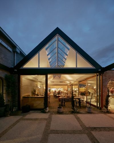 half acre restaurant addition pitched roof