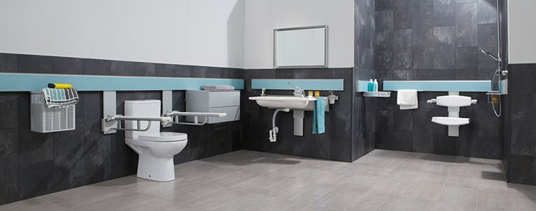 Modern accessible bathroom interior with adjustable hardware