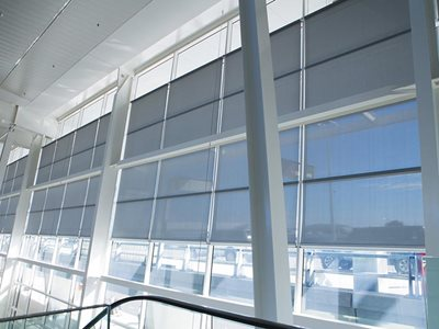 Verosol SilverScreen solar radiation roller blind in commercial high rise