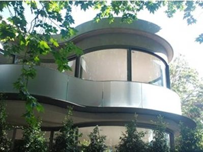 residential curved glass facade