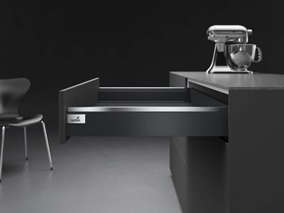 black drawer open chrome detailing kitchen interior