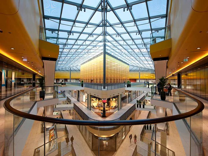 Ebsa Lamilux Architectural Ceiling Glass System Interior Shopping Center View