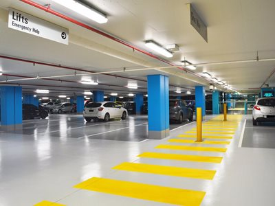 Internal car park with bright light reflective systems