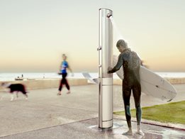 Customisable Outdoor Shower Unit with Integrated Signage