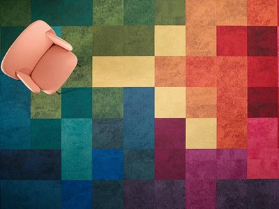 Aerial view of pixel multi coloured carpet tiles