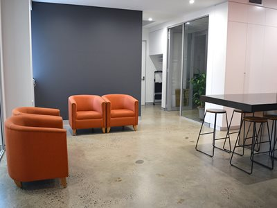 Interior of office reception area with resin flooring