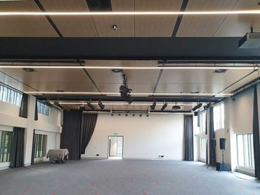 Multipurpose hall - the ceiling has been lined with SUPACOUSTIC perforated panels finished in SUPAFINISH Tasmanian Oak laminate