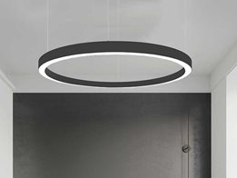 Large circular pendant light: Orbit