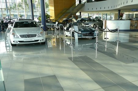 Grip Guard anti slip floor treatment Mercedes Dealership copy
