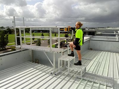 AM BOSS access ladders fall protection system Ladline rooftop
