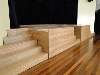 Select Staging Concepts Quattro modular stage with timber fascia panels