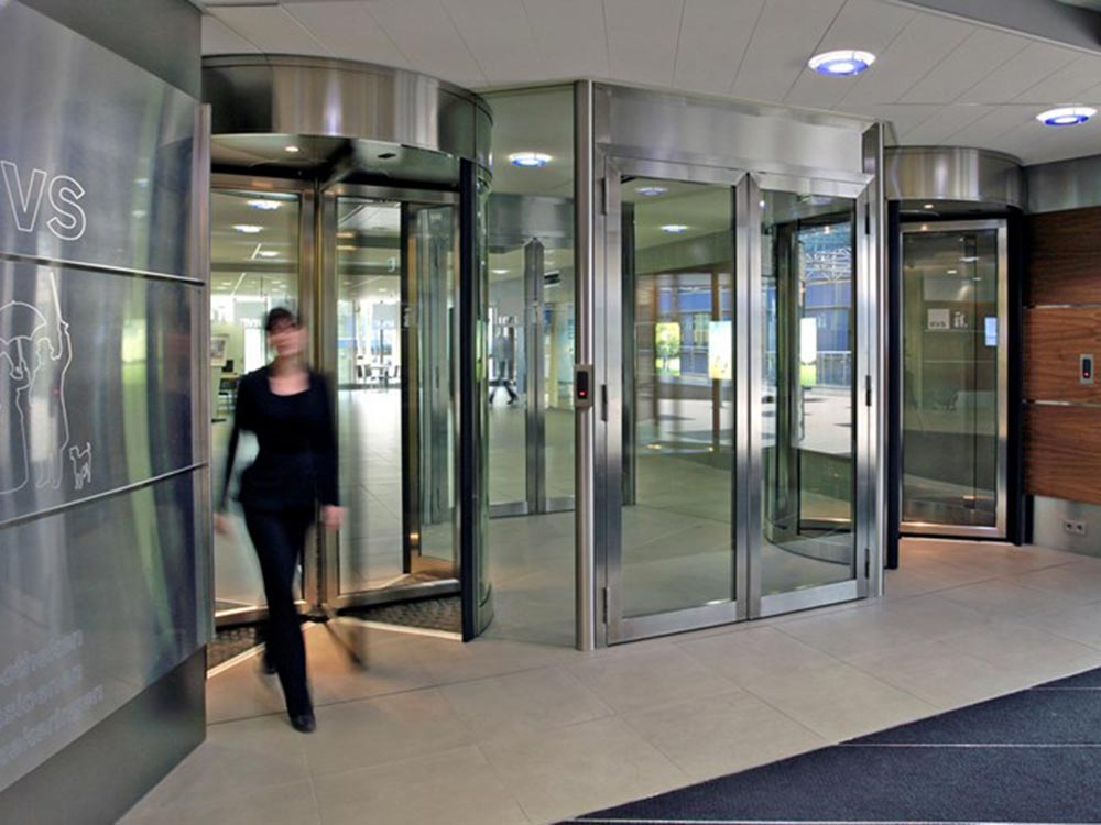 Building exterior with revolving doors