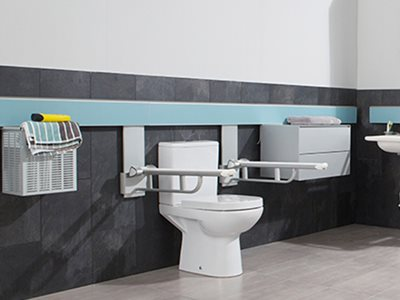 Adjustable bathroom accessories for accessible bathrooms