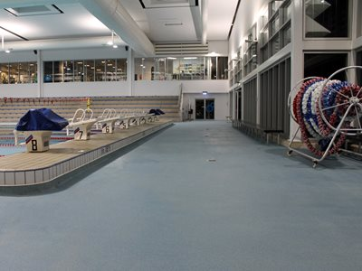 Interior view of Launceston aquatic centre depicting diving platforms