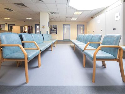 Altro highly durable and customisable wall and flooring products in hospital waiting room