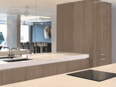Kitchen interior with timber decorative surface