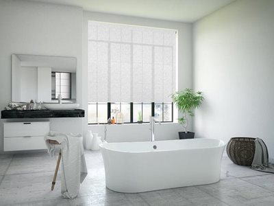 Residential bathroom interior with Norfolk solar control roller blinds