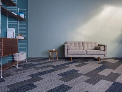 Armstrong Woven Blue Vinyl Textile Flooring in Office Interior